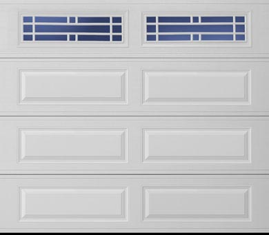 A long panel garage door with window inserts